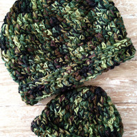Dad and Baby Camo Beanie Set - Fits Adult Male and Newborn to 3 Months Baby