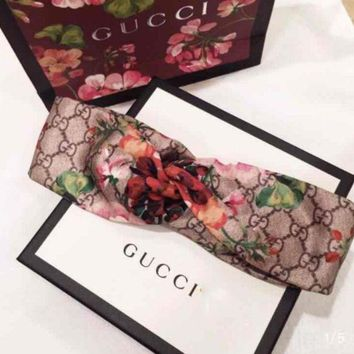 PEAPV9O GUCCI Blooms Women Trending Fashion Casual Print Silk Headband G