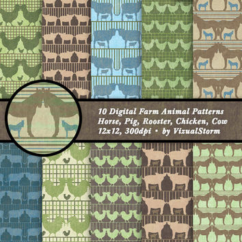 Digital Farm Scrapbooking Papers Barnyard Animal Party Paper Farm Animal Background Cow Rooster Chicken Horse Pig Digital Farm Party Motifs