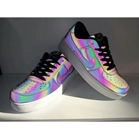 """""""Nike Air Force 1"""" Unisex Casual Fashion Chameleon Low Help Plate Shoes Couple Sneakers"""