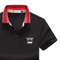 GUCCI 2019 new embroidered bee men's POLO shirt half sleeve shirt black