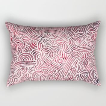 Burgundy and white doodles Rectangular Pillow by Savousepate