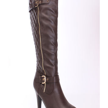 Brown Quilted Knee High Boots Faux Leather