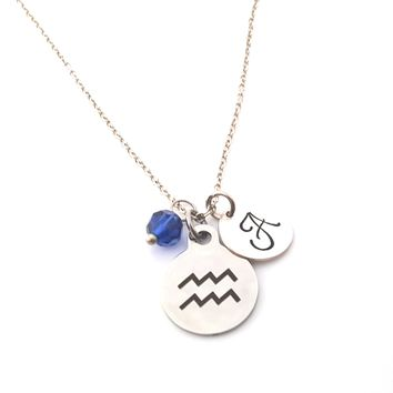 Aquarius - Zodiac Charm - Personalized Sterling Silver Necklace