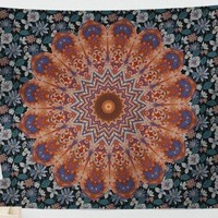Dark Blue Floral Mandala Tapestry  84x59inches