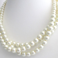 Pearl Statement Necklace Ivory Pearls Twisted Pearls Three Strand Necklace Flower Girl Glass Pearls Mother Of Groom Bridesmaid