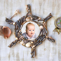 Baby Frame New Baby boy Frames Newborn Rustic Wood Photo Frame Baby Shower Gift Nautical Nursery decor Ship Steering Wheel Kid photo frame