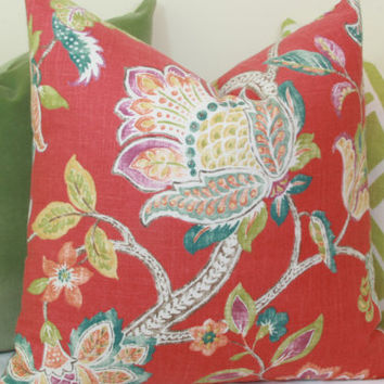Coral Jacobean linen decorative throw pillow cover. 18 x 18. 20 x 20. 22 x 22. 24 x 24. 26 x 26. lumbar sizes.