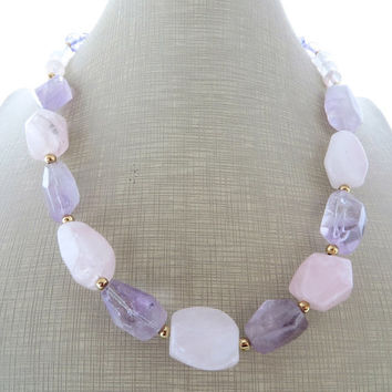Pink quartz necklace, purple amethyst necklace, raw stone necklace, beaded necklace, choker, semi precious stone jewelry, gemstone jewellery