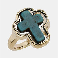 Topshop Turquoise Cross Ring | Nordstrom