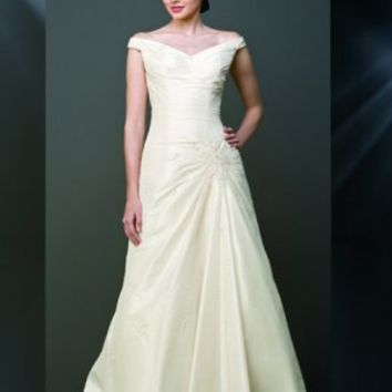 V Neck Off The Shoulder Floor Length Wedding Dress - Basadress.com