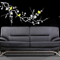Cherry Blossom Branch with Birds Vinyl Wall by singlestonestudios