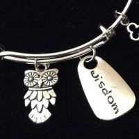 Wisdom is Key Owl and Key Charm on Silver Expandable Adjustable Wire Bangle Bracelet Stacking Handmade Trendy Graduation Gift