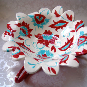 dr seuss floral Ceramic Serving Dish in turquoise & red