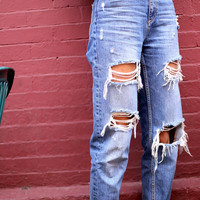 90's High Waist Distressed Boyfriend Jeans (ALL SIZES)