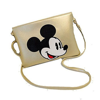 Mickey Mouse on Gold Clutch/ Shoulder Bag , Purse with Zipper
