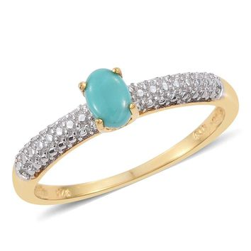 Turquoise 14K Over Sterling Silver Ring