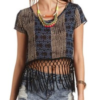 Tribal Print Fringe Crop Top