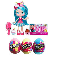 Shopkins Shoppies Easter Bundle - Jessicake Doll + S4 Surprise Eggs Complete Collection (Pink, Blue and Yellow)