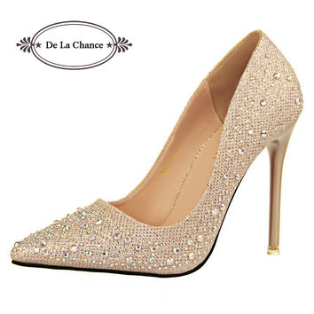 2015 New Women Silver Rhinestone Wedding Shoes Platform Pumps Red Bottom High Heels Birthday Crystal Sapatos Femininos Shoes