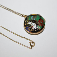 Vintage Enamel Locket Necklace Pendant  1950s Jewelry