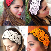 Hair Fashion// Orange Headband/ Crochet Headband/ Handmade Headband/ Summer Accessories/ Hallowen/ Gift For Mother's Day/ Hair  Bandana