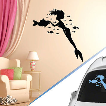 FREE SHIPPING Mermaid Surrounded by Fish Wall Decal ~ Car Decal ~Laptop Decal ~ Custom Size and Color