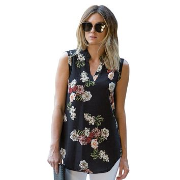 Black Sleeveless Floral Top