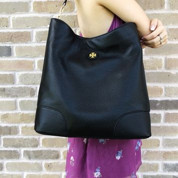 Tory Burch Whipstitch Logo Large Hobo Tote Black