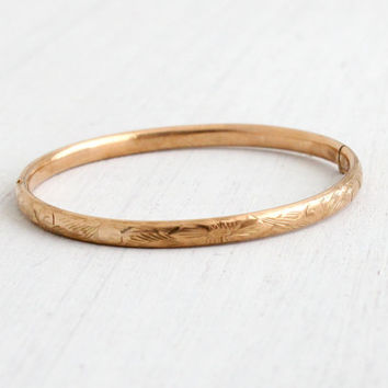 Vintage 10k Rosy Yellow Gold Baby or Child's Bracelet - 1930s Art Deco Fine Hinged Bangle Flower Jewelry / Etched Flowers