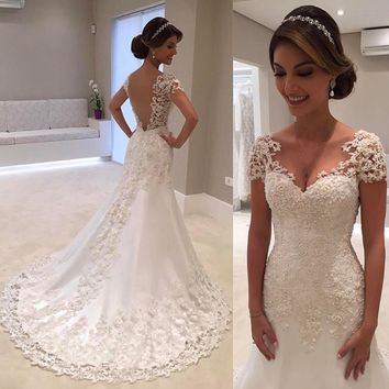 Robe de mariage White Backless Lace A-Line Wedding Dresses 2017 V-Neck Short Sleeve Wedding Gown Bride Dress Vestido de noiva