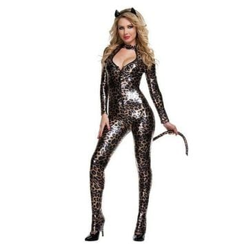 ESBONG Patent leather costumes _ sexy ladies wild cat Siamese cat girl cosplay party black Catwoman [8979056903]