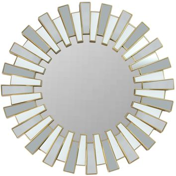 "25.5"" Aztec Inspired Sparkling Sunburst Matte Gold Decorative Round Wall Mirror"