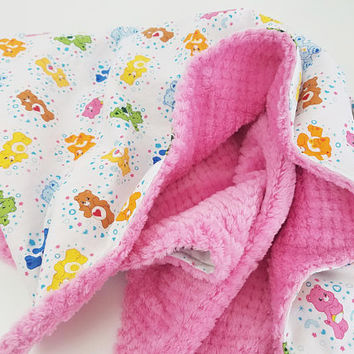 Personalized Care Bears Minky Baby Blanket - Made to Order
