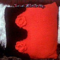 Color Block Rose Pillow