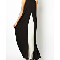 Elegant Chiffon Sleeveless Black Evening Wear