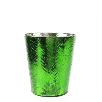 "5.5"" Decorative Green and Silver Mercury Glass Votive Candle Holder"