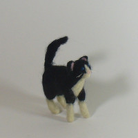 Tuxedo Cat, Needle Felted Black and White Kitty Miniature, Soft Sculpture, Fiber Art Cat