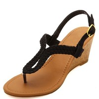 BRAIDED LOOP THONG WEDGE SANDALS