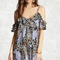 Cheetah Open-Shoulder Dress