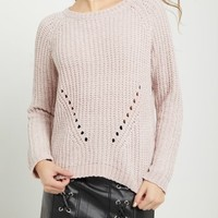 Pink Chenille Knit Sweater
