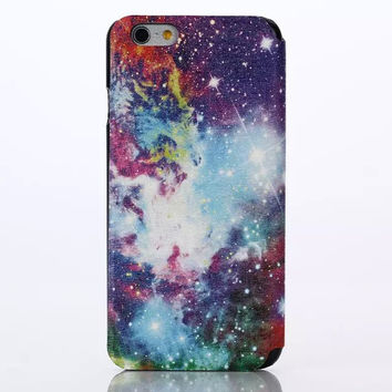 Galaxy Leather creative case Cover for iPhone 6S 6 Plus Samsung Galaxy S6