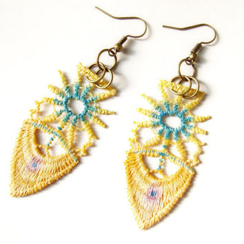 handpainted lace earrings steampunk beaded  yellow blue vintage victorian bohemian Fabric jewelry woman gift wearable art