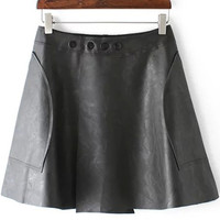 Black Buttons Detailed Faux Leather Skirt