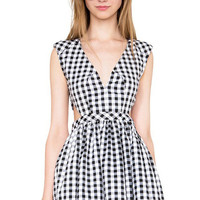 Checkered V-neck Backless Dress