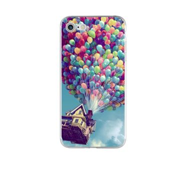 Pixar's Movie 'Up''s house being carried by balloons Phone Case For iPhone 7 7Plus 6 6s Plus 5 5s SE