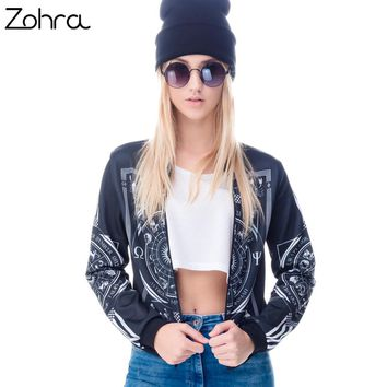 Zohra Women Bomber Jacket 3D Printed Occultism Chaquetas Mujer Outwear Long Sleeve Coats Teenager Jackets