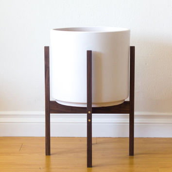 "Large Mid-century Modern Planter, Plant Stand with 12"" Ceramic - Walnut & Brass"