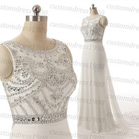 White/Ivory Crystal Beading Chiffon Wedding Dress Long Cap Sleeve Handmade Bridal Gowns A-line White Wedding Dress