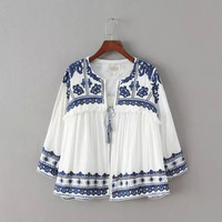 Blue And White Porcelain Sleeve Fringed Ruffle Shirt